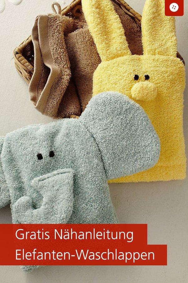 Gratis-Schnittmuster & Nähanleitung: Waschlappen Elefant