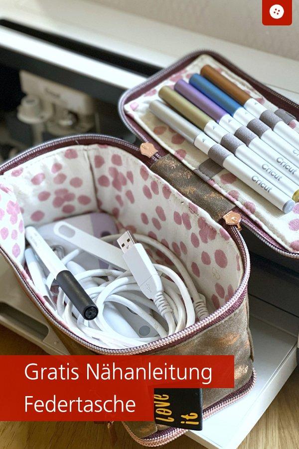 Gratis-Schnittmuster & Nähanleitung: Stiftetasche / Federmappe