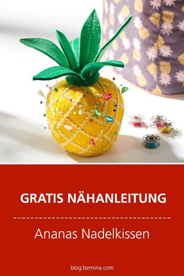 Gratis-Schnittmuster & Nähanleitung: Ananas Nadelkissen