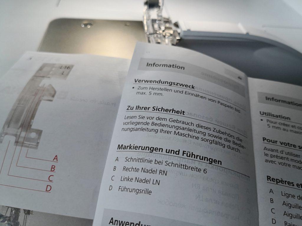 Anleitung Paspel Fuss