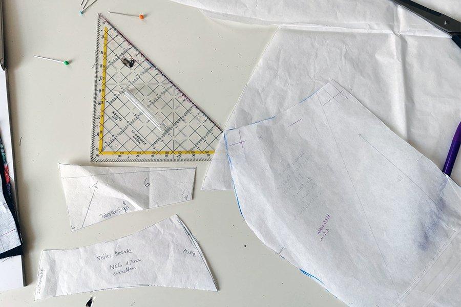 Blende des Overalls konstruieren