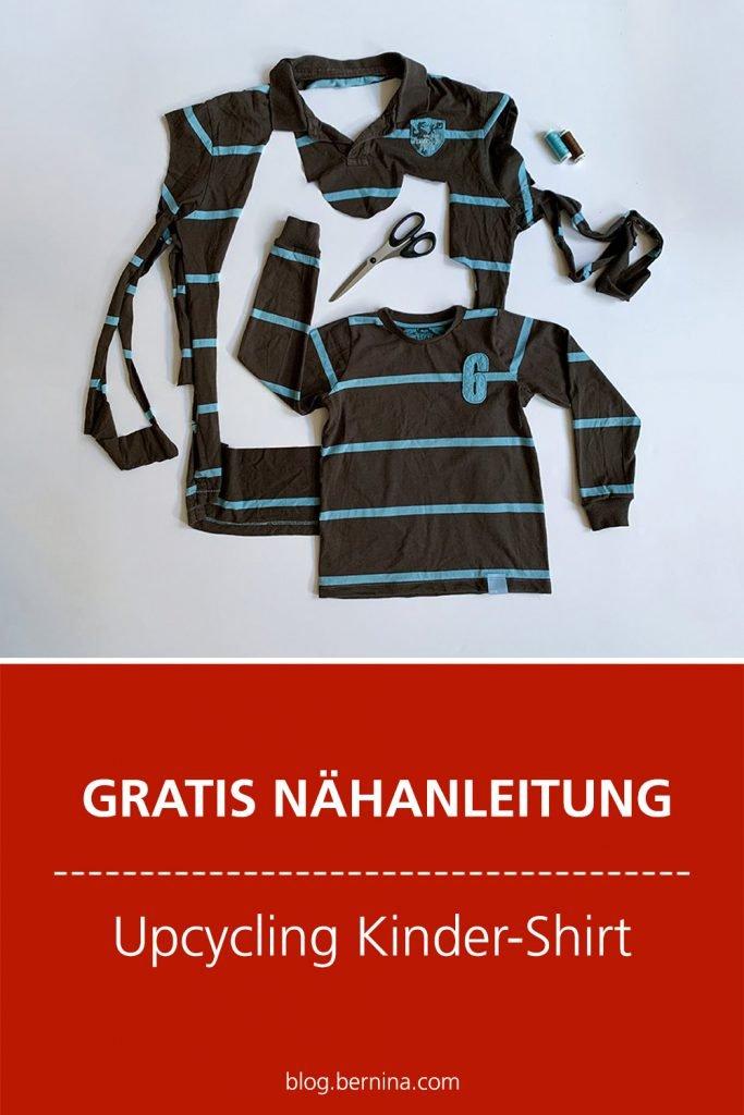 Gratis Nähanleitung: Upcycling Kindershirt aus altem Herrenshirt nähen