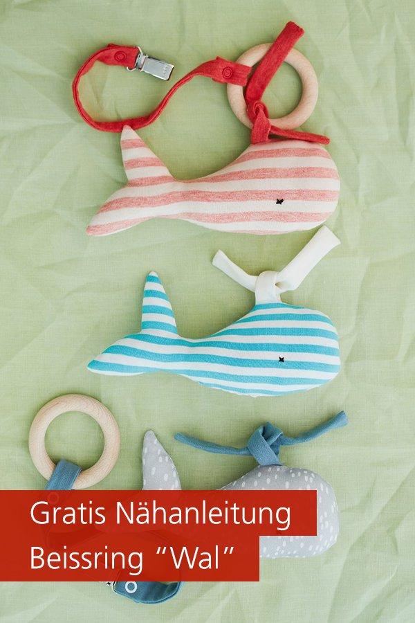 "Gratis-Schnittmuster & Nähanleitung: Beißring ""Wal"" Baby"