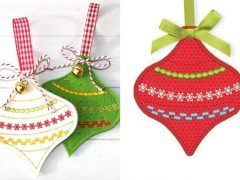 How to make embroidered Christmas pendants (with free embroidery template)
