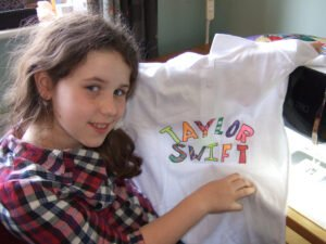 Caitlyn and the front of her t-shirt