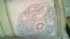 close up celtic motif nit textured