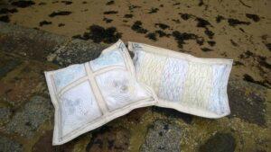 cushions on slipway at beach