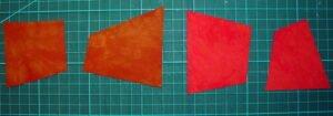 die 4 fertig geschnittenen Quadrate
