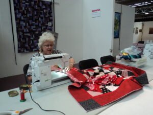 Hilary working on Saturday's quilt.
