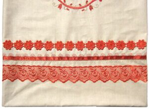 Close-up of embroidery stitches and lace