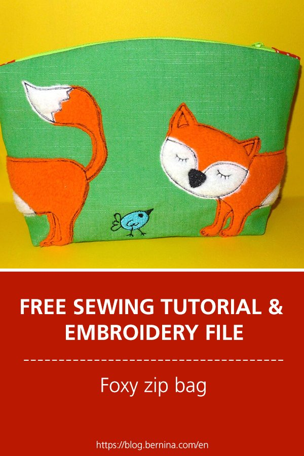 Free sewing tutorial &  embroidery File: Foxy zip bag