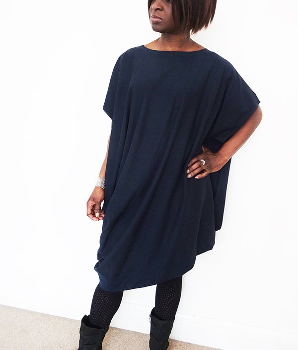 Navy drape dress2_Nosh fabric_Needle and Ted