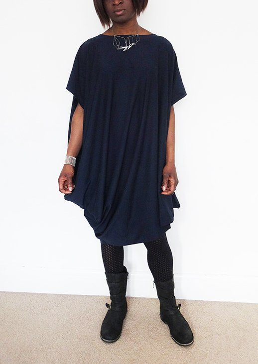 Navy drape dress9_Nosh fabric_Needle and Ted