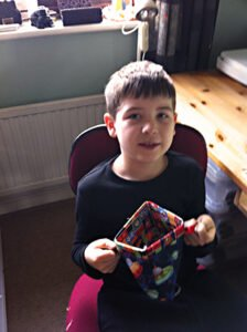 Euan showing how the pencil case opens