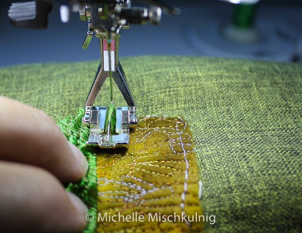 Stitching rows of tailor tacking.