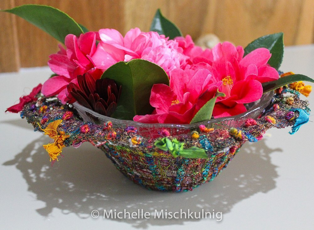 The finished textile bowl has many decorative uses .