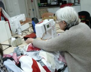 Making the quilt.