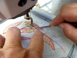 sewing wire in place 3