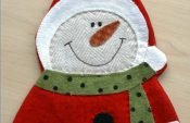 Sewing a snowman mug rug for the Christmas table