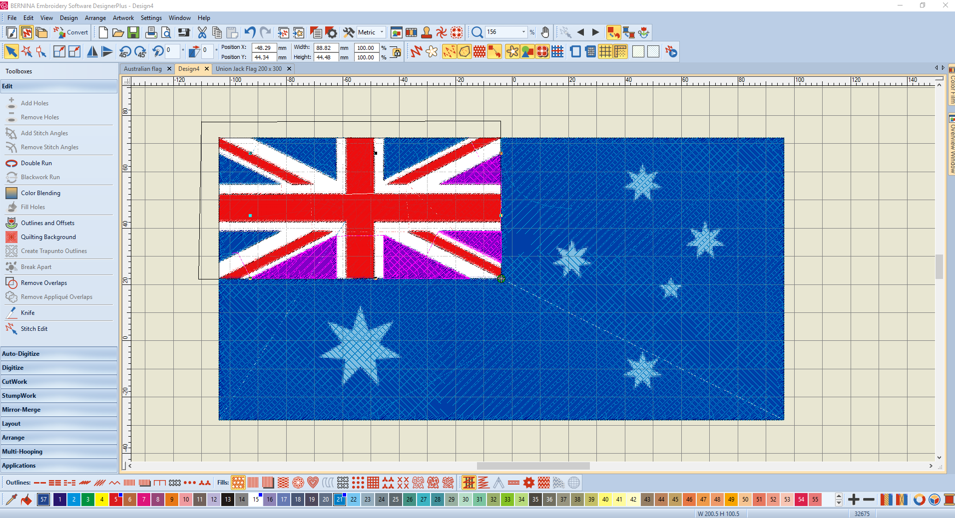 Flag Of Australia Bernina Embroidery Software Designerplus V8 Using Closed Objects Cutting Holes And Moving Nodes