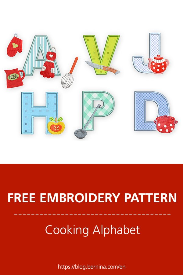Free embroidery pattern: Cooking Alphabet