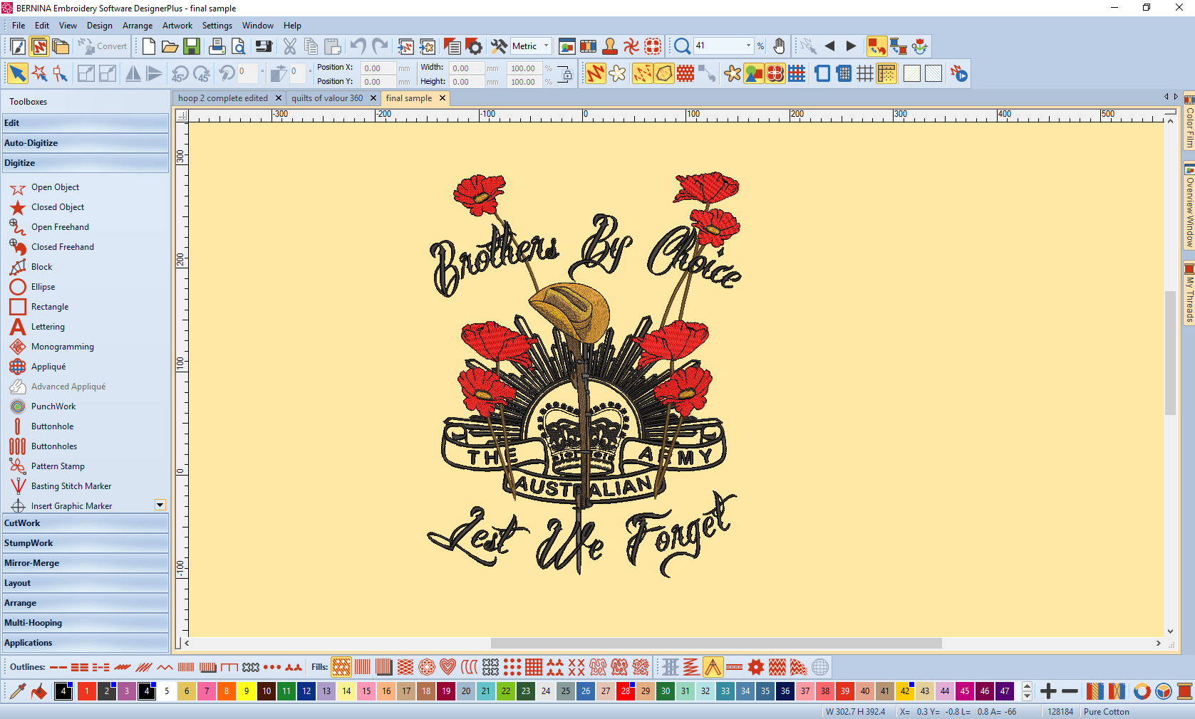 Lest We Forget Brothers By Choice Embroidery Design Being Creative