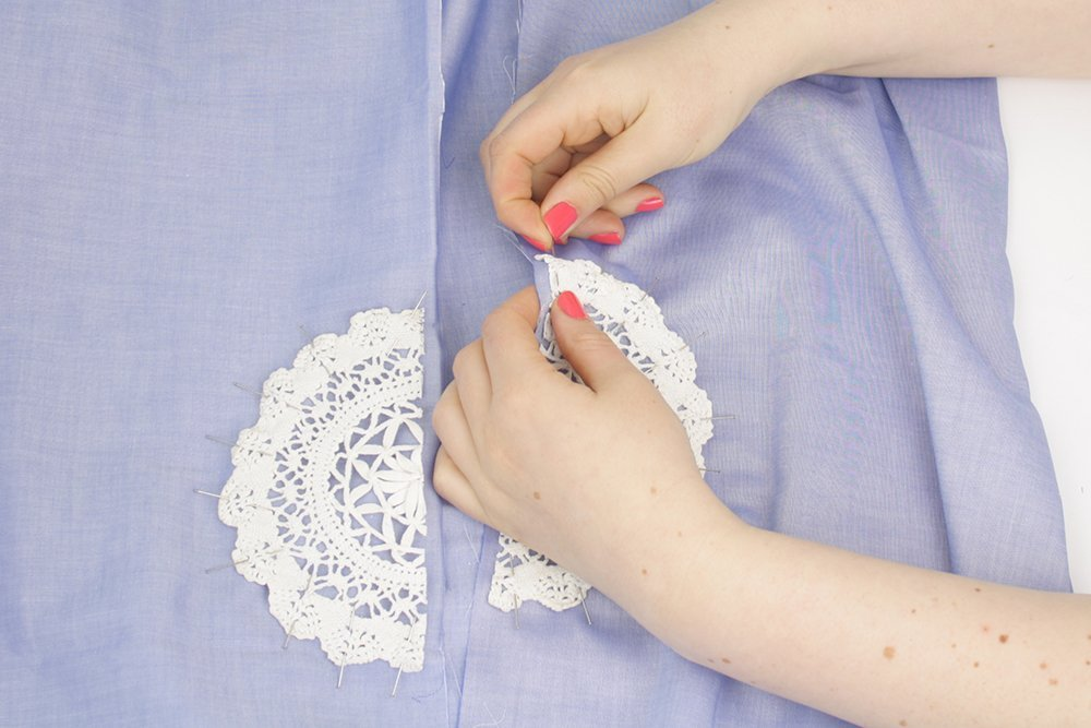 how to sew cutouts with lace