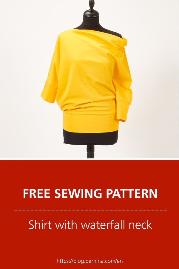 Free sewing pattern & instructions: Shirt with one-side waterfall neck