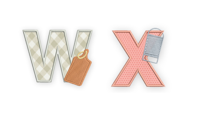 Cooking Embroidery Alphabet W and X
