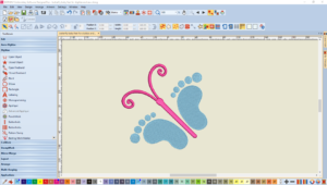 Bernina Designer Plus V8 Digitize a-long with Lou Robertson Butterfly Baby Feet Embroidery Design