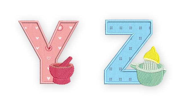 Y,Z cooking alphabet