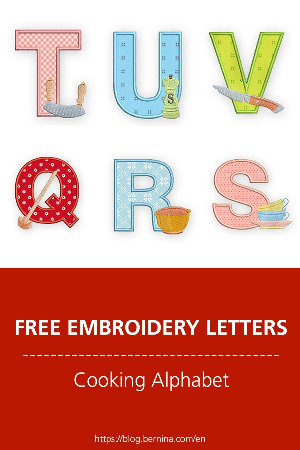 Free embroidery pattern: Cooking Alphabet #embroidery #sewing #sewingprojects #letters