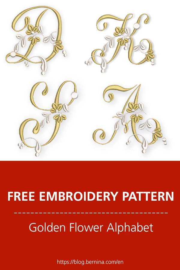 Free embroidery files: Golden flower alphabet