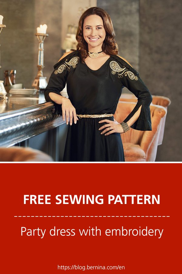 Free sewing pattern & instructions: Party dress with embroidery