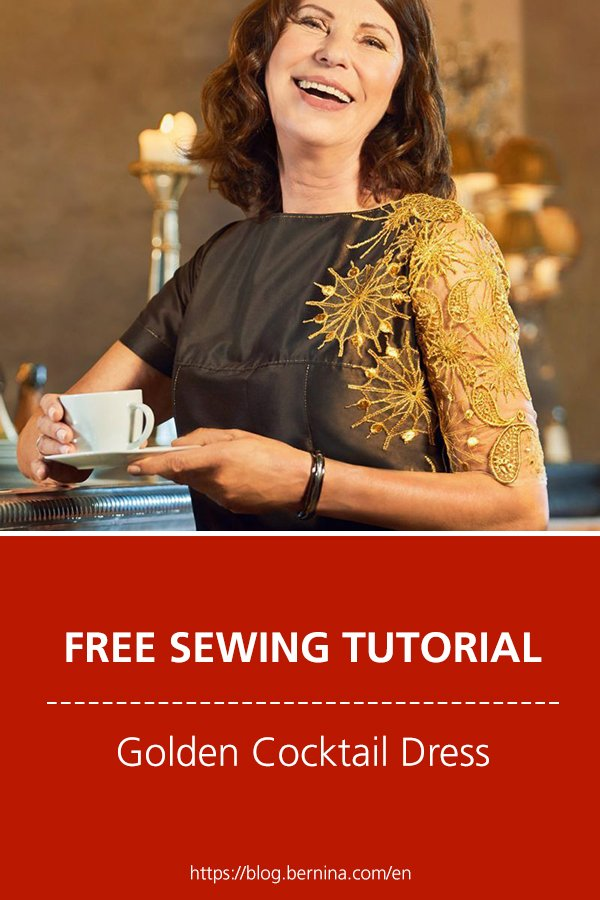 Free sewing pattern & instructions: Golden Cocktail Dress