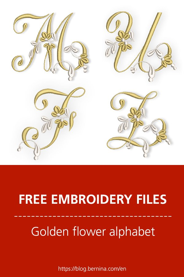 Free embroidery files: Golden flower alhabet