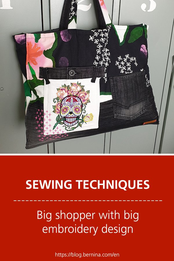 Free sewing instructions: Big shopper with big embroidery design