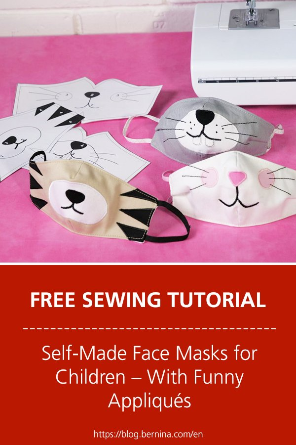 Free sewing tutorial: Self-Made Face Masks for Children – With Funny Appliqués