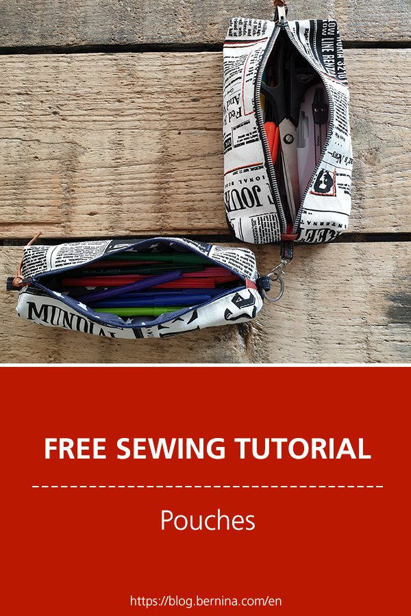Free sewing pattern & instructions: Pouches