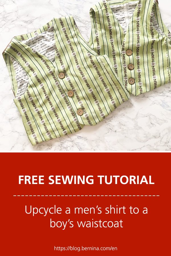 Free sewing instructions: Upcycle a men's shirt to a boy's waistcoat