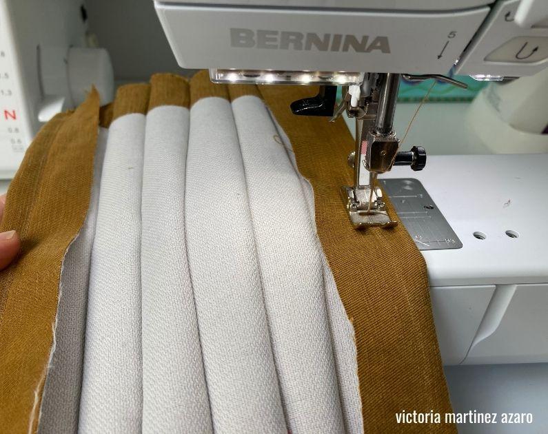 sewing tucks into fabric collage la creative mama