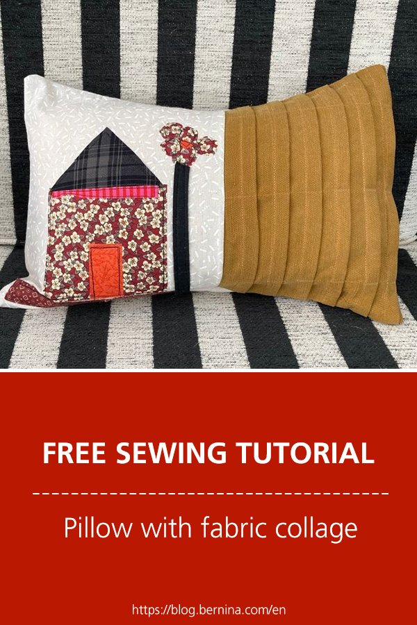 Free sewing tutorial: Pillow with fabric collage
