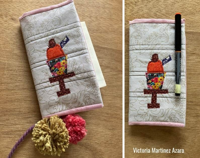 fabric book cover using applique patterns from la creative mama