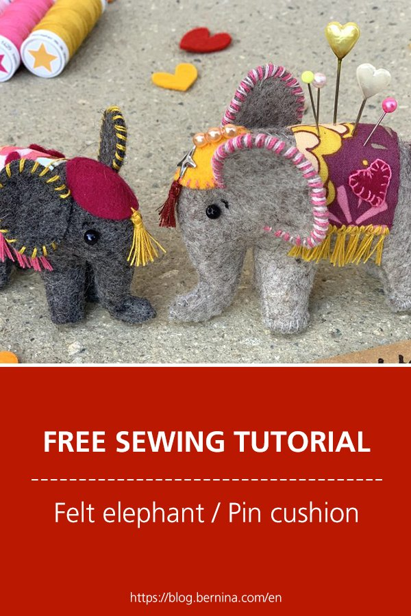 Free sewing tutorial: Felt elephant / Pin cushion