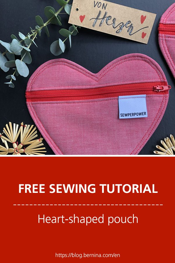 Free sewing tutorial: heart-shaped gift pouch