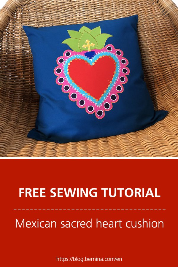 Free sewing tutorial: Mexican sacred heart cushion