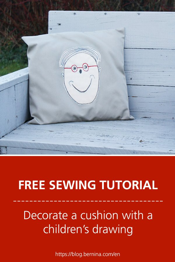 Free sewing tutorial: Decorate a cushion with a children's drawing