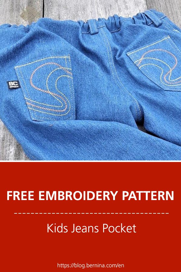 Free embroidery pattern: Embroider a kids jeans pocket