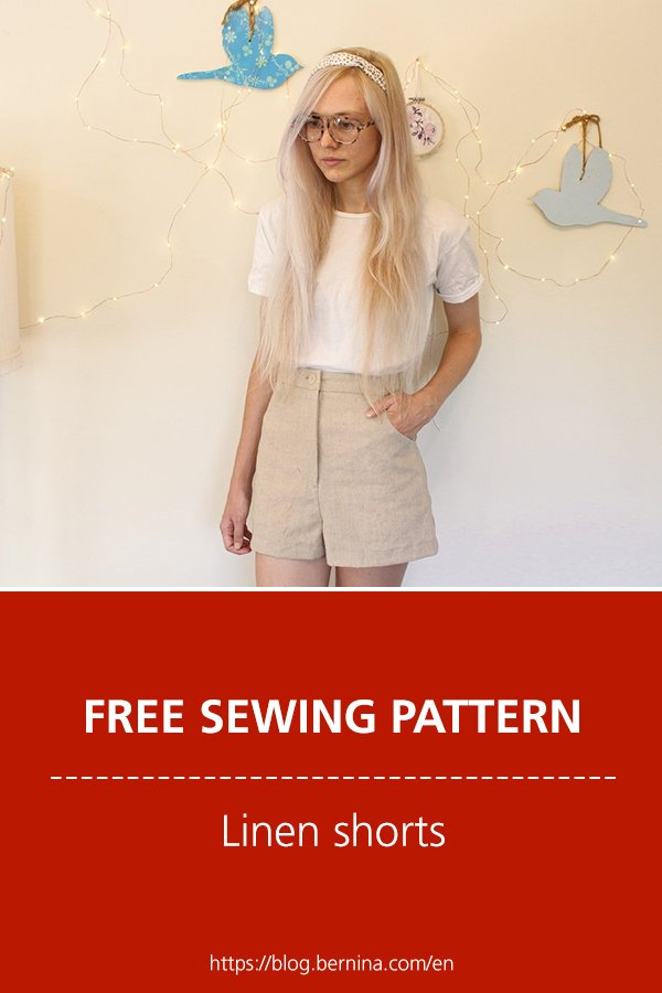 Free sewing pattern & instructions: Linen shorts