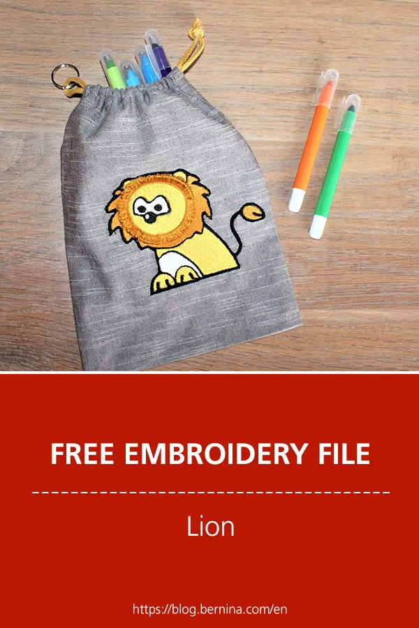 Free embroidery pattern: Lion